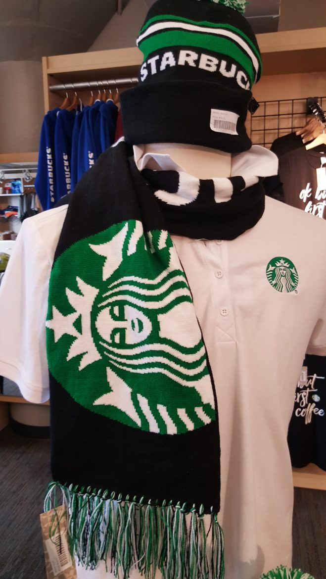 A Starbucks Scarf and more Starbucks pins! (And the Downtown Starbucks idea)