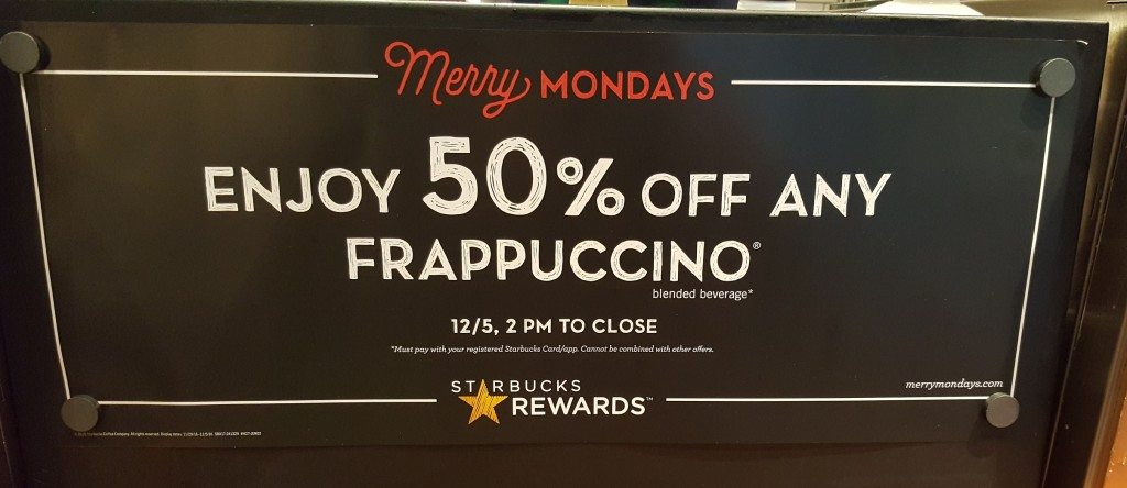 20161201_084148 - Sign half off frappuccino at 7th and Westlake