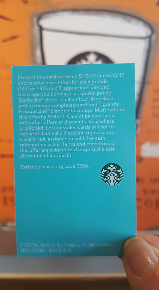 Back of Happy for Days Frappuccino card