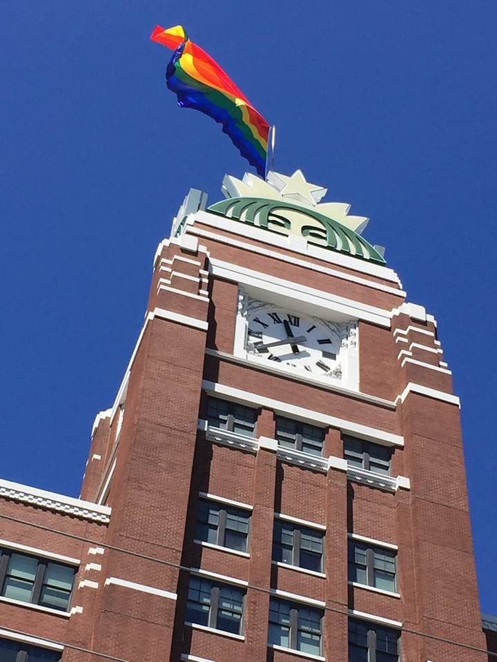 Starbucks Pride Flag Over Headquarters in Honor of Pride Month