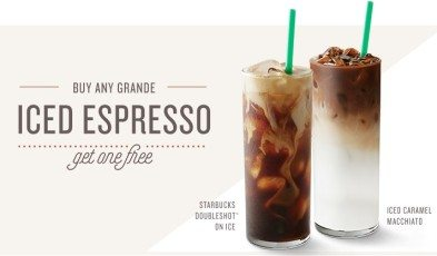 Buy 1 get 1 free from starbucks