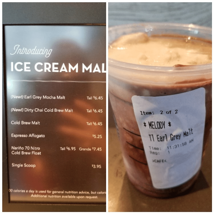 Earl Grey Mocha Malt at Orange County, California Starbucks: Yum!