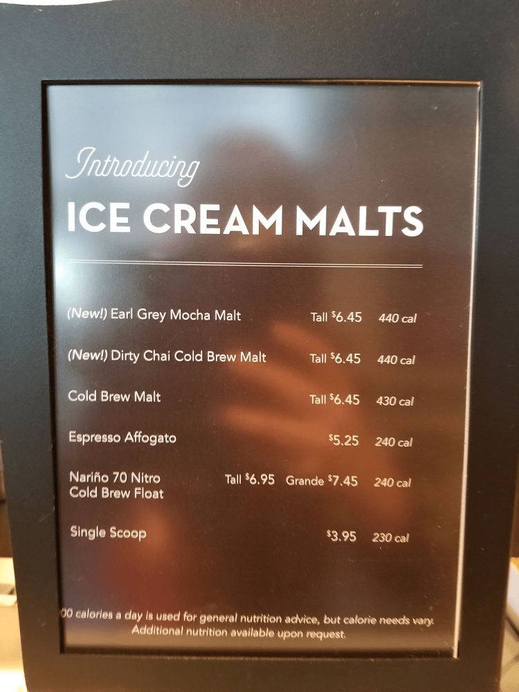 Menu Earl Gre Mocha Malt and More 2017 August 19