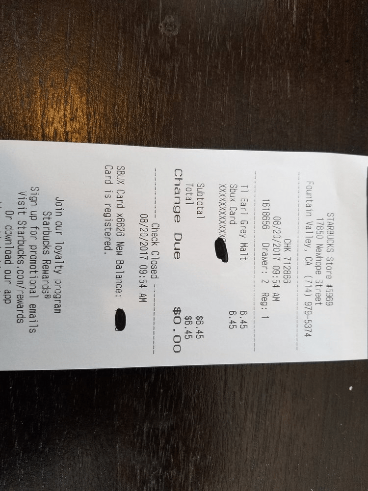 receipt Earl Grey Mocha Malt 2017 Aug 20