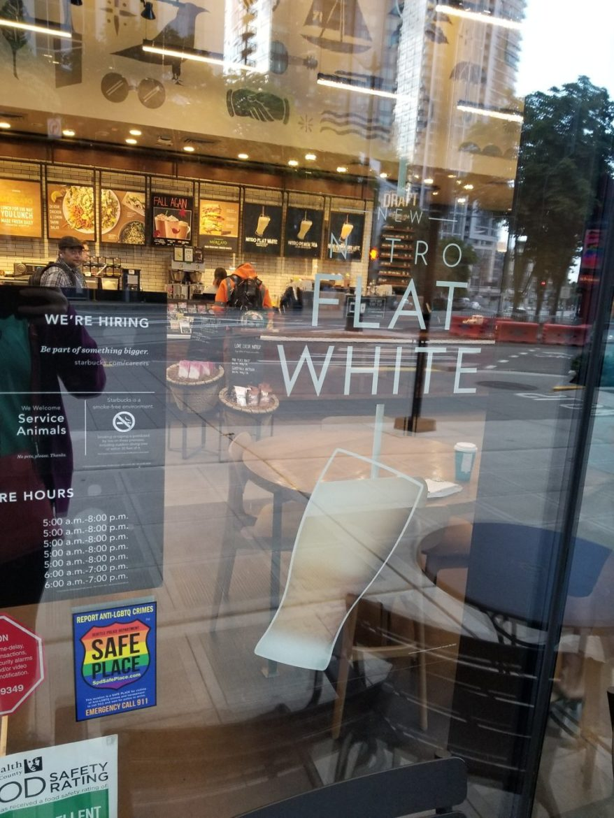 Nitro Flat White exterior sign 2017 Sept 23