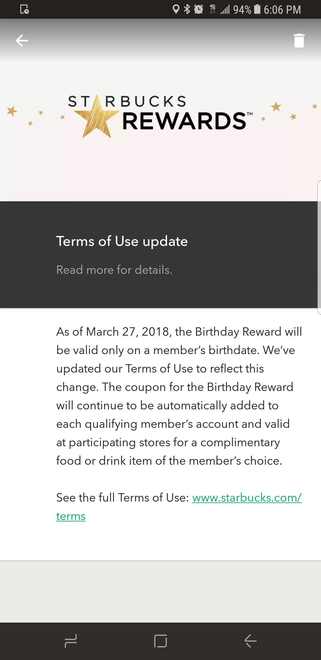 how to change your birthday on starbucks app