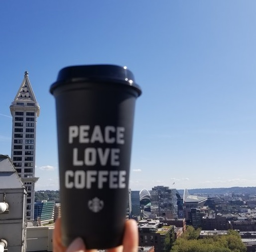 Peace, Love, Coffee Reusable Cup now at Starbucks (And a lesson on your 10 cents off discount).