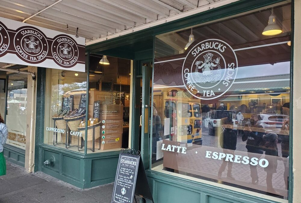The original Starbucks: 1912 Pike Place in the year 2020.